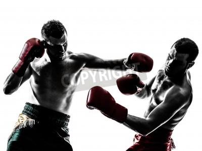 Fototapeta two caucasian  men exercising thai boxing in silhouette studio  on white background