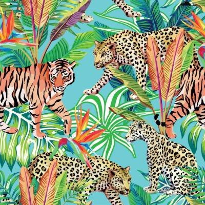 Fototapeta Tygrys i lamparty w dżungli bez szwu tła