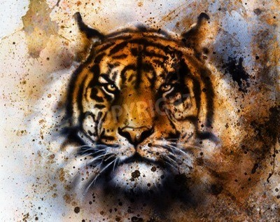 Fototapeta Tygrys kolażu na kolorowym tle abstrakcyjnych, struktury rdzy, dzikich zwierząt, kontakt wzrokowy.