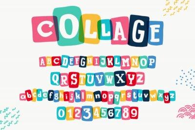 Fototapeta Typewriter-inspired alphabet with bold slab serif symbols in colorful frames.