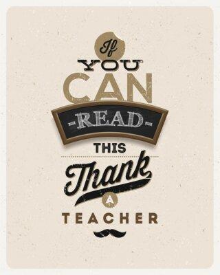 Fototapeta Typograficzne vintage design - Cytat o nauczyciela