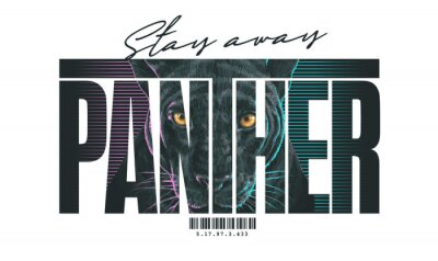 Fototapeta typography slogan with panther head,vector illustration for t-shirt.