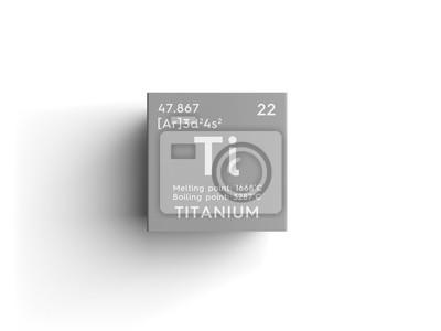 Fototapeta Tytan. Metale przejściowe. Elementy chemiczne tablic okresowych Mendelejewa. Tytan w kwadratowej sześcian koncepcji twórczej.