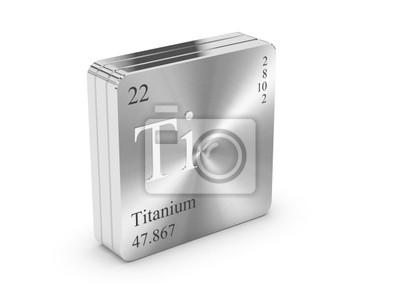 Fototapeta Tytanu - element układu okresowego pierwiastków na stalowym bloku metalowego
