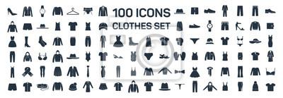 Fototapeta Ubrania 100 zestaw ikon na białym tle