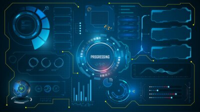 Fototapeta ui hud futuristic technology innovation concept virtual system interactivity design