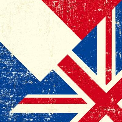 Fototapeta UK grunge flag i francuski