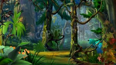Fototapeta Ukryta ścieżka leśna w lecie. Cyfrowe malowania, ilustracji w stylu cartoon Realistyczne