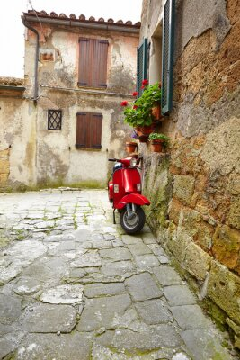 Fototapeta Ulica średniowiecznej wiosce. Włochy, Toskania