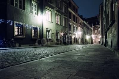 Fototapeta Ulica starego miasta w Warszawie w nocy