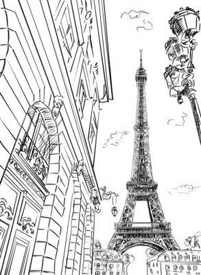 Fototapeta Ulica w Paryż - szkic ilustracji