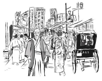 Ulica w Tokio z ludźmi w tradycyjnych strojach