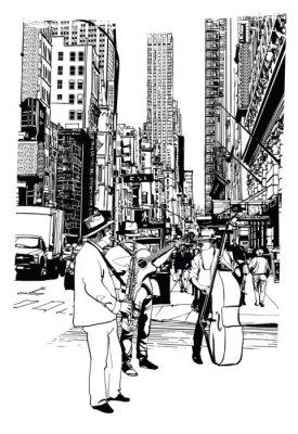 Uliczni wykonawcy grający muzykę na 5th Avenue w Nowym Jorku