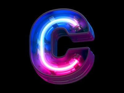 Fototapeta  Ultraviolet neon futuristic font.