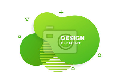 Fototapeta Unique abstract graphic elements. Eco banner with a gradient shape. Design template for presentation or flyer. Abstract forms green dynamic composition. Minimal mesh background. Modern style vector
