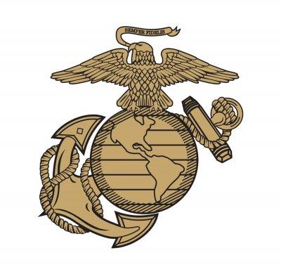Fototapeta United State Marine Corps Eagle Globe and Anchor ega design illustration vector eps format , suitable for your design needs, logo, illustration, animation, etc.