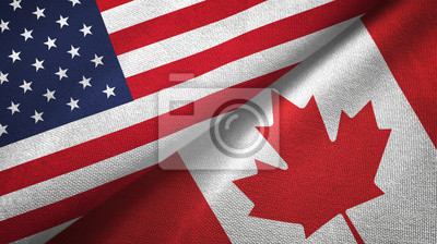Fototapeta United States and Canada two flags textile cloth, fabric texture