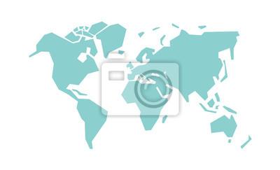 Fototapeta Uproszczona mapa świata. Stylizowana wektorowa ilustracja