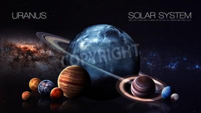 Fototapeta Uran - rozdzielczości 5K Infografika przedstawia jeden z planety systemu słonecznego. Ten obraz elementy dostarczone przez NASA.