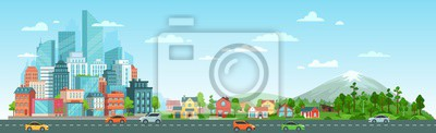 Fototapeta Urban road with cars landscape. City road traffic, big city buildings, suburban houses and wild nature landscape. Residential and road panorama, transportation district vector illustration