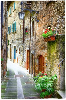 Fototapeta urocze stare uliczki średniowiecznych miast Włoch