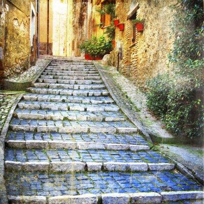 Fototapeta urocze stare uliczki średniowiecznych wiosek Włoch