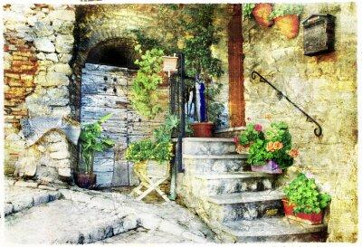 Fototapeta urocze stare uliczki włoskich wiosek (Casperia), artystyczne pi