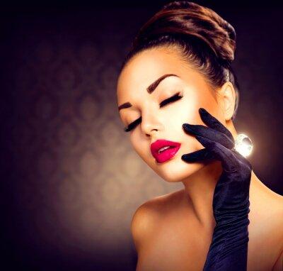 Fototapeta Uroda Moda Glamour Girl Portret. Dziewczyna Styl vintage