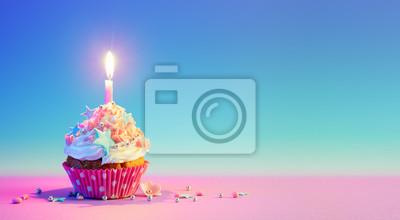 Fototapeta Urodzinowa babeczka Z Jeden świeczką