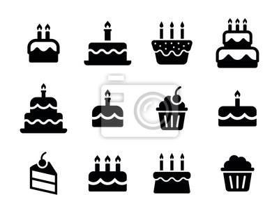 Fototapeta Urodziny ikona kolekcja - urodziny żywności Zestaw ciasto