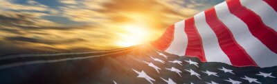 Fototapeta US American flag. For USA Memorial day, Veteran's day, Labor day, or 4th of July celebration.
