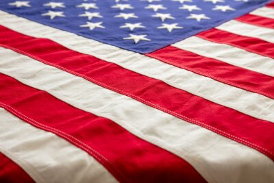 Fototapeta USA flag, US of America sign symbol background, closeup view