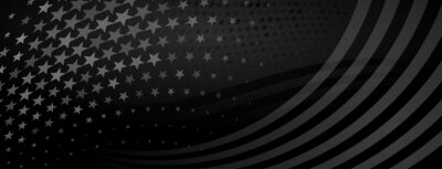 Fototapeta USA independence day abstract background with elements of american flag in black colors