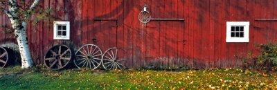 Fototapeta USA, New Hampshire, Franconia Notch. Autumn color enhances the deep red siding of an old barn near Franconia Notch, New Hampshire.