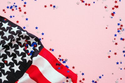 Fototapeta USA Veterans Day banner design. American flag and confetti on pink background. USA Independence Day, Memorial Day, US Labor day concept.