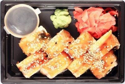 Fototapeta usługi dostarczania żywności w japońskiej bułki plastikowym pudełku