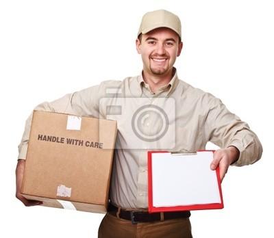 Fototapeta uśmiecha się mężczyzna dostawy