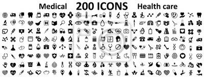Fototapeta Ustaw 200 płaskich ikon medycyny i zdrowia. Kolekcja opieki zdrowotnej medyczne ikony znak - na stanie