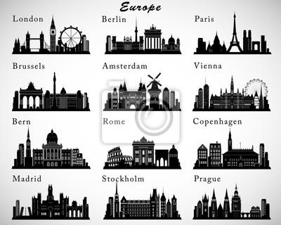 Fototapeta Ustaw europejskich miast skylines. Sylwetki wektora