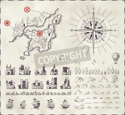 Fototapeta Ustaw w średniowiecznej kartografii