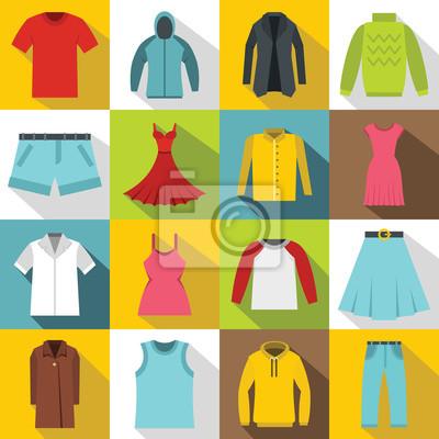 Fototapeta ustawić różne ubrania ikony. Płaski ilustracja 16 różnych ikon elementów ubrania wektora dla sieci web