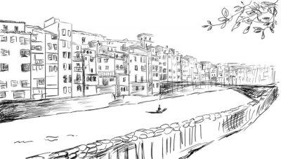 Fototapeta uwagę na starym mieście - szkic