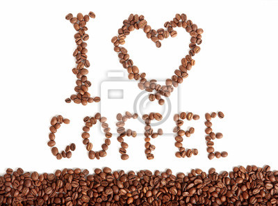 Uwielbiam kawę - tekst fasoli na białym