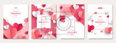 Fototapeta Valentine's day concept posters set. Vector illustration. 3d red and pink paper hearts with frame on geometric background. Cute love sale banners or greeting cards