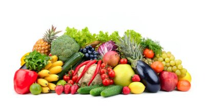 Fototapeta Variety healthy fruits, vegetables, berries isolated on white background.