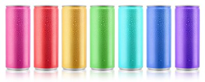 Fototapeta Various color beverage aluminium metal cans with condensate water drops design template. Isolated on white background. Clipping path for each object.