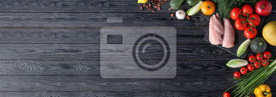 Fototapeta Various healthy products on wooden background