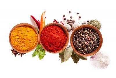 Fototapeta Various spices isolated on white background