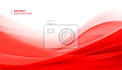 Fototapeta Vector abstract red wavy background. Curve flow motion