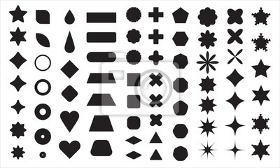 Fototapeta Vector basic shape collection for your design. Polygonal elements with sharp and rounded edges